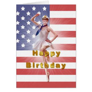 Geburtstag, patriotische Ballerina und USA-Flagge Grußkarte