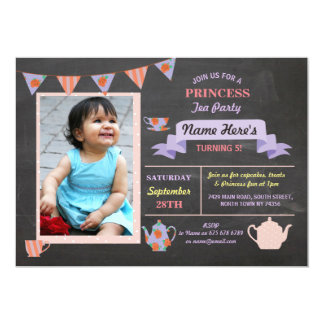 Geburtstag Prinzessin-Tea Party Chalk Purple laden Karte