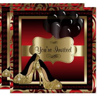 Geburtstag |Red u. Goldhohe Heels-Einladung Karte