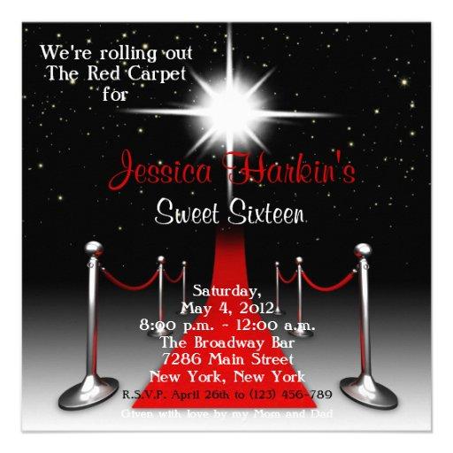 Geburtstag roter Teppichhollywood-Bonbon-16 laden Personalisierte Einladungskarten