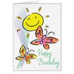 Geburtstag-Schmetterlinge und Sonnenschein Grußkarte