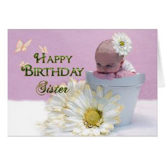 Geburtstag - Schwester - Baby im Blumen-Topf Karte