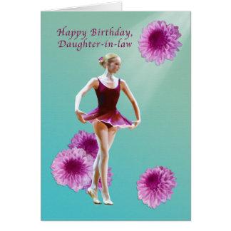 Geburtstag, Schwiegertochter, Ballerina mit rosa Karte