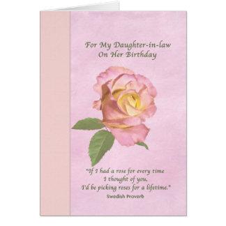 Geburtstag, Schwiegertochter, FriedensRose Karte