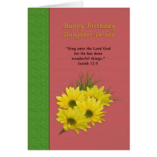 Geburtstag, Schwiegertochter, gelbe Gänseblümchen Karte