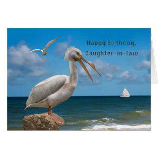 Geburtstag, Schwiegertochter, weißer Pelikan auf Karte