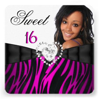 Geburtstag sechzehn des Fotozebra-Rosa-Silber-Bonb