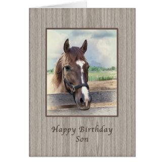 Geburtstag, Sohn, Brown-Pferd mit Zaum Karte