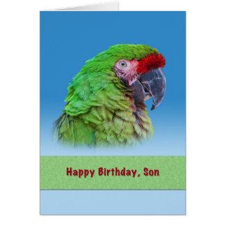 Geburtstag, Sohn, grüner Papagei Karte