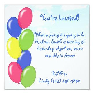 Geburtstag steigt Party im Ballon auf Quadratische 13,3 Cm Einladungskarte