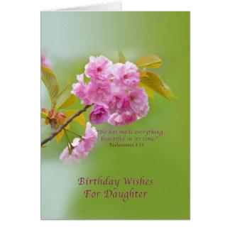 Geburtstag, Tochter, Kirschblüten, religiös Karte
