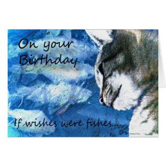 Geburtstag wünscht Katze und Fische Karte