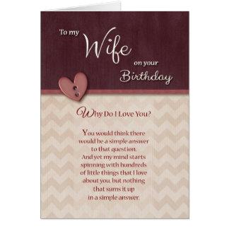 Geburtstag zur Ehefrau - warum tun i-Liebe Sie? Karte