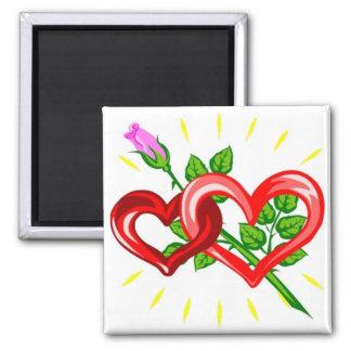 Geburtstag zwei Herzen verband mit einer rosa Ros Magnets