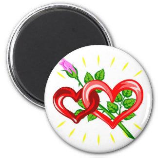 Geburtstag, zwei Herzen verband mit einer rosa Runder Magnet 5,1 Cm