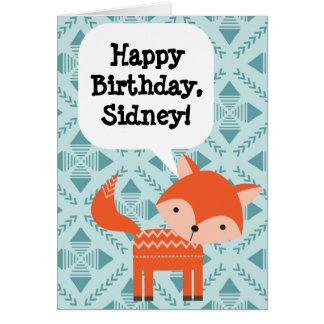 Geburtstagroter Fox der kundenspezifische der Karte
