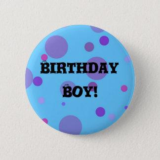 Geburtstags-Abzeichen-blaue Polka-Punkte Runder Button 5,7 Cm