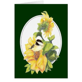 Geburtstags-Aquarell-Chickadee und Sonnenblume Karte