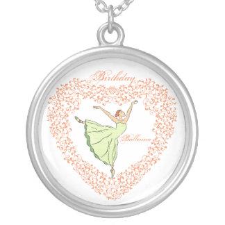 Geburtstags-Ballerina-Anmut-Herz Versilberte Kette