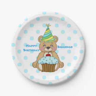 Geburtstags-Bärn-Kuchen-blaues personalisiertes Pappteller