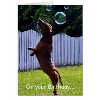 Geburtstags-Blasen-Hund Karte