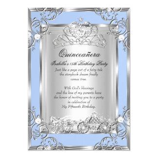 Geburtstags-Blau-Silber Prinzessin-Quinceanera 15. Karte