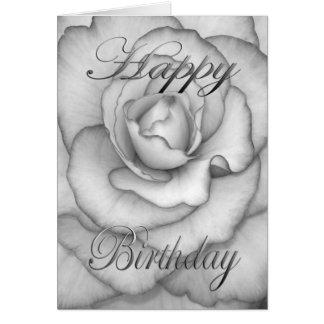 Geburtstags-Blume weiß und schwarz Karte