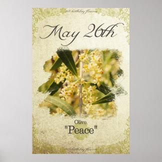 """Geburtstags-Blumen am 26. Mai """"Olive """" Poster"""