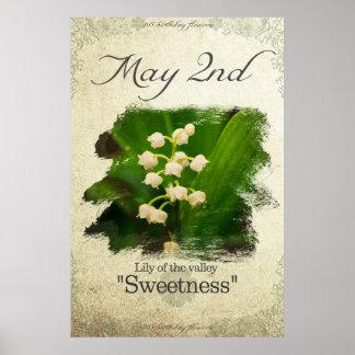 """Geburtstags-Blumen am 2. Mai """"Lilie des Tales """" Poster"""