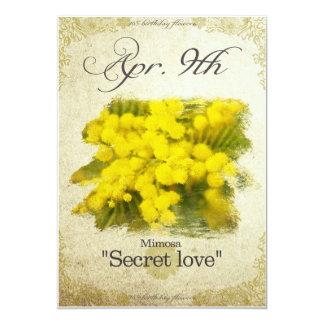 "Geburtstags-Blumen am 9. April ""Mimose "" Karte"