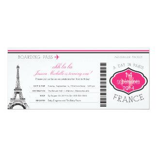 Geburtstags-Boarding-Durchlauf nach Paris 10,2 X 23,5 Cm Einladungskarte