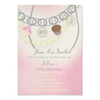 Geburtstags-Charme-Armband u. Perlen-Schmuck laden 12,7 X 17,8 Cm Einladungskarte