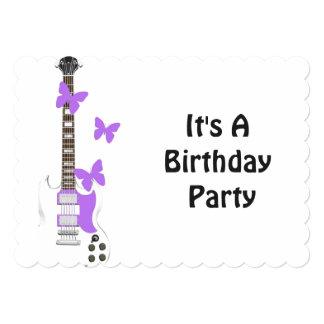 Geburtstags-Einladung, Gitarre, lila 12,7 X 17,8 Cm Einladungskarte