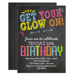 Geburtstags-Einladung, Neonkreide erhalten Ihr 12,7 X 17,8 Cm Einladungskarte