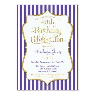 Geburtstags-Einladungs-lila Golderwachsener weißer Karte