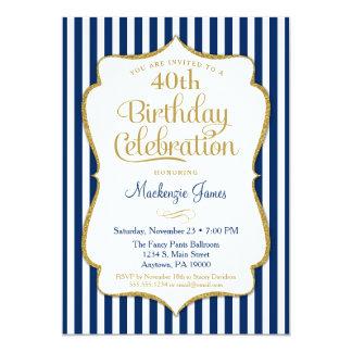 Geburtstags-Einladungs-Marine-Blau-Golderwachsener Karte
