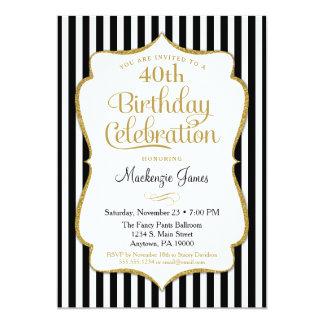 Geburtstags-Einladungs-Schwarz-Goldeleganter Karte