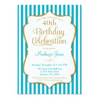 Geburtstags-Einladungs-Türkis-Aqua-Golderwachsener Karte
