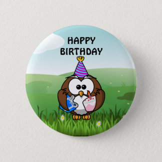 Geburtstags-Eule Runder Button 5,1 Cm