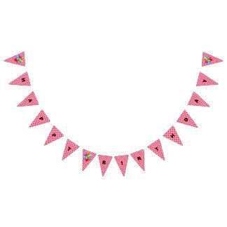 Geburtstags-Fahne--Roter Gingham Wimpelketten