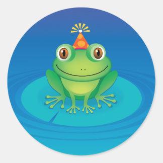 Geburtstags-Frosch Runder Aufkleber
