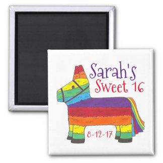 Geburtstags-Gastgeschenk-Regenbogen-Esel-Tier Quadratischer Magnet