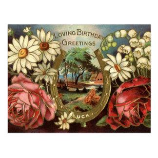 Geburtstags-Gruß mit Rosen Postkarte