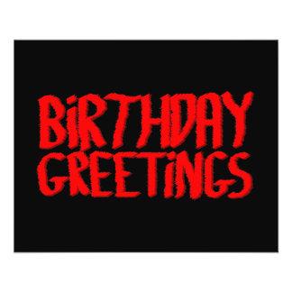 Geburtstags-Grüße. Rot und Schwarzes Custom Flyer