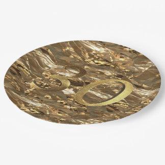 Geburtstags-Hochzeitstag-Gold der Nr.-30 30. Pappteller 22,9 Cm
