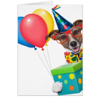 Geburtstags-Hund mit Ballonen Krawatte und Gläser Karte