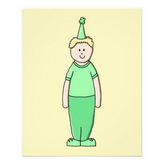 Geburtstags-Jungen-Cartoon im Grün Flyerbedruckung