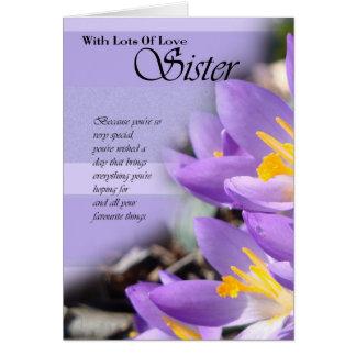 Geburtstags-Karte Krokus der Schwester lila Karte