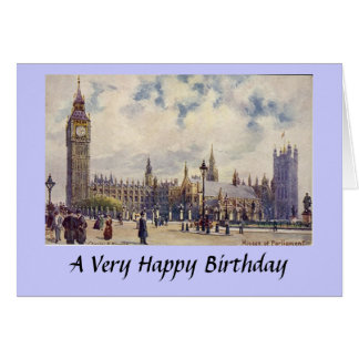 Geburtstags-Karte - London, Häuser des Parlaments Karte