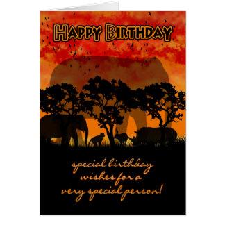Geburtstags-Karte mit afrikanischer Landschaft und Karte